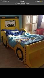 Digger bed and rug and light shade