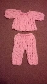 crocheted baby girl cardy and leggings first size sale price new
