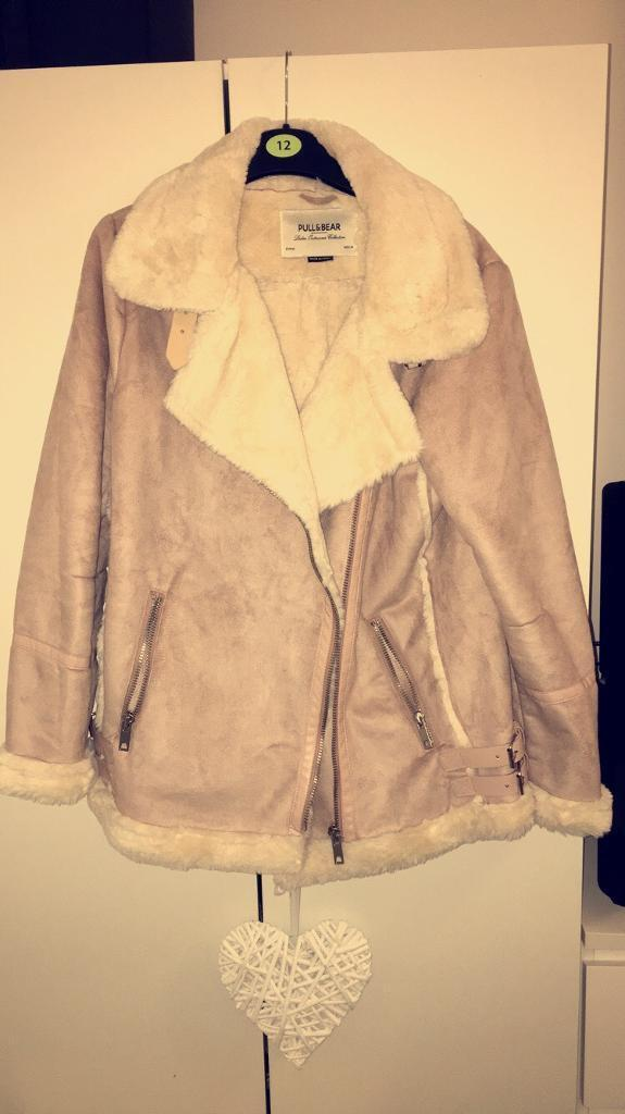Pill & bear Pink suede aviator jacket