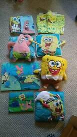 Sponge Bob Square Pants bundle Curtains Single bedding Pictures, pillows, curtains