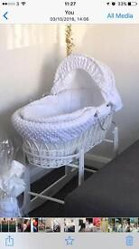 Clair de lune white dimple wicker Moses basket and wooden rocker stand