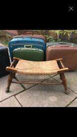 Vintage Solid Oak Rush Seated Large Stool