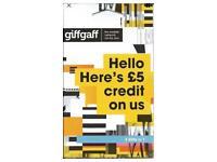 Free Giffgaff giff gaff nano/micro/standard 3in1 SIM card Free £5