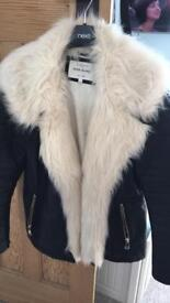 Size 10- fur leather jacket