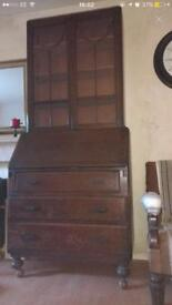 Old antique wooden cabinet bureau storage cupboard