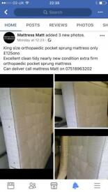 King size pocket sprung extra firm mattress only £125ono