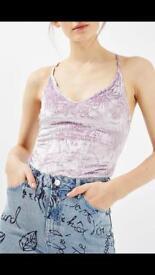 TopShop lilac velvet bodysuit