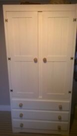 Small wardrobe 3 drawers white with wood knobs very clean