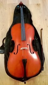 1/2 Size Cello Outfit with Case & Bow in Good Condition