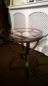 Coffee Table. Wrought Iron Pedstal Base