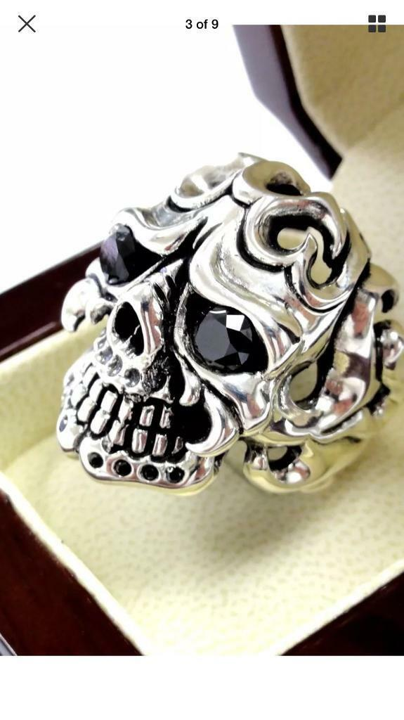 3b0e5fb364dd STUNNING SUPER RARE MENS STERLING SILVER BLACK DIAMONDS SKULL RING UK 12  GENUINE £1000 BARGAIN!
