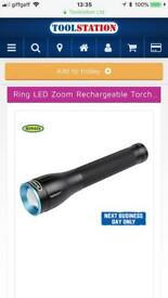 Ring led zoom rechargeable torch new