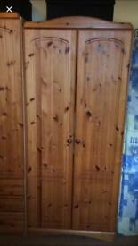 Double Pine Wardrobe, LOCAL DELIVERY POSSIBLE.