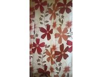 Terracotta flowered curtains.66x54 inches.