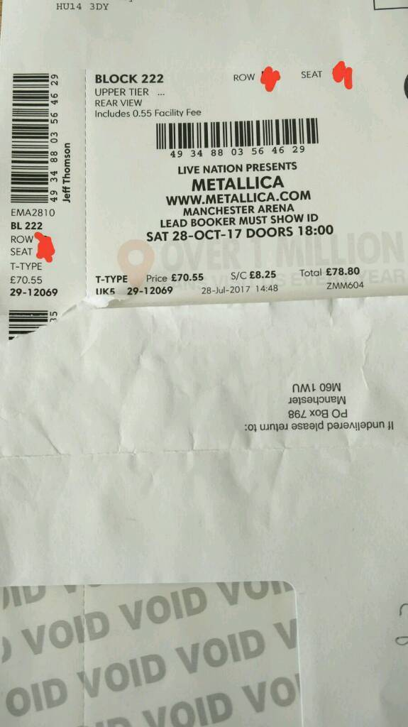 ***METALLICA Ticket *** x1 SAT 28th Oct MANCHESTER