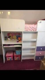 High bed and mattress with desk for kids