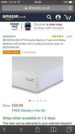 Double Mattress. Free delivery. Hardly used. Bedzonline £70 on Amazon