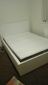IKEA Double bed with 4 storage boxes and mattress