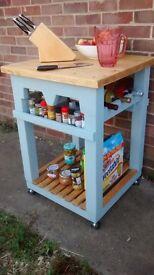 Rustic Butcher's block kitchen island trolley cart