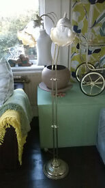 Tall Standard Lamp / Brass Floor Lamp with Shades