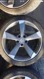"""Set of four Audi vw 5/112 rotor style alloys and good tyres 18"""""""