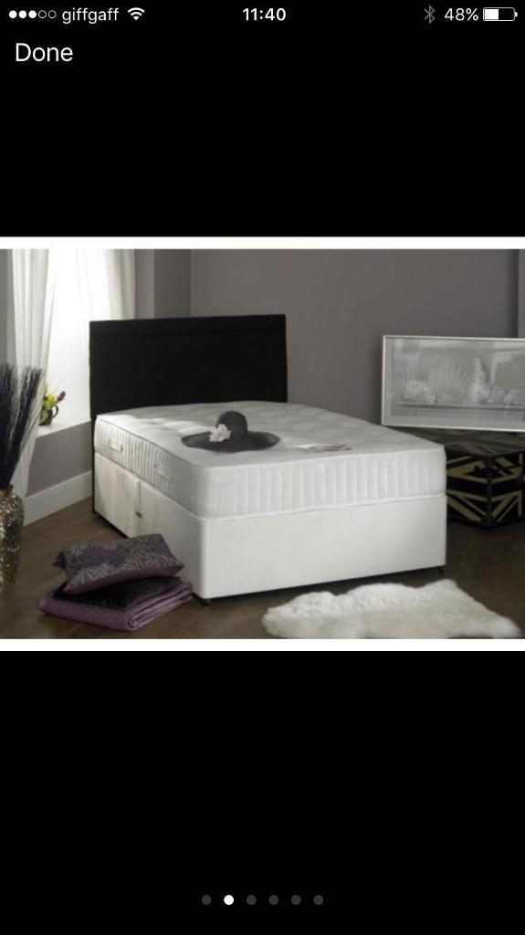 BARGAIN COMPLETE DIVAN BED WITH ORTHOPAEDIC MATTRESS SINGLE DOUBLE KING SIZE