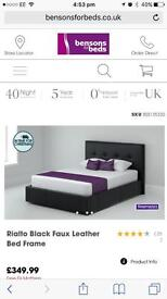 Double faux leather bed frame with 2x draws at the end of bed