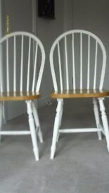 Pair of Windsor Dining Chairs, White and Natural