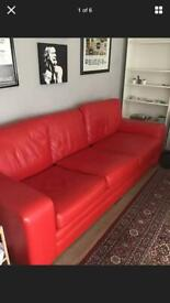 Darlings of Chelsea Red Leather Sofa (3 seater)