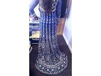 Stunning royal blue asian bridal dress