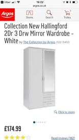 Hallingford 2 doors 3 drawers mirror white wardrobe