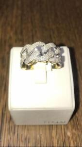 10k Yellow Gold And 1.00ct Diamond Cuban Link Ring12mm