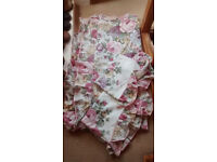Double duvet set with 2 pillow cases, floral, immaculate unused, frill detailing, cotton/polyester
