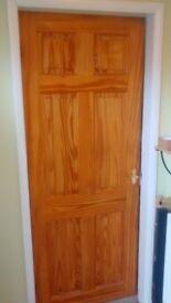 Internal 6 Panel Clear Pine Door with Brass Handles & Tubular Latch
