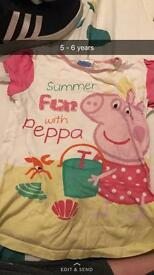 5 - 6 year old girls peppa pig top