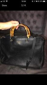 Gucci bamboo large shopper black leather handbag