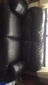Large 3 + 2 seater sofas in leather
