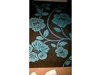 Black and Teal floral rug