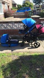I candy double pram purple n blue + carry cot