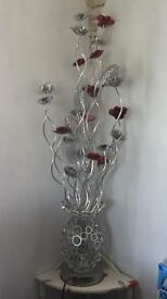 Tall red and silver flower floor lamp