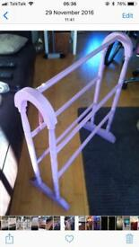 Quality Shabby Chic Vintage clothes Upcycled Pink Drying Towel Rack Bathroom Bedroom