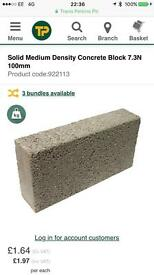Solid medium density Concrete blocks