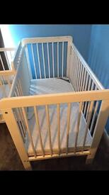 John Lewis White Cot (Including Mattress)