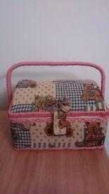 Sewing Basket - Kids Vintage / Tapestry Style Teddy Bear Design - VGC
