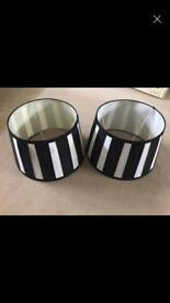 X2 black n white stripy lampshade