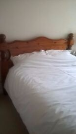 King size pine bed. Excellent quality and condition.