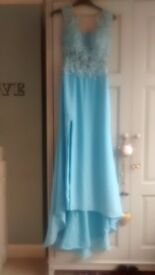 sky blue prom dress , backless with embroidered detail size 4-6