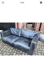 black leather 2 seat sofa can deliver