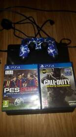 Ps4 slim with 2 games and controller