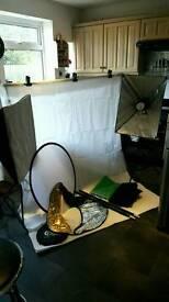Studio photography lighting kit, background stand, softbox, reflector